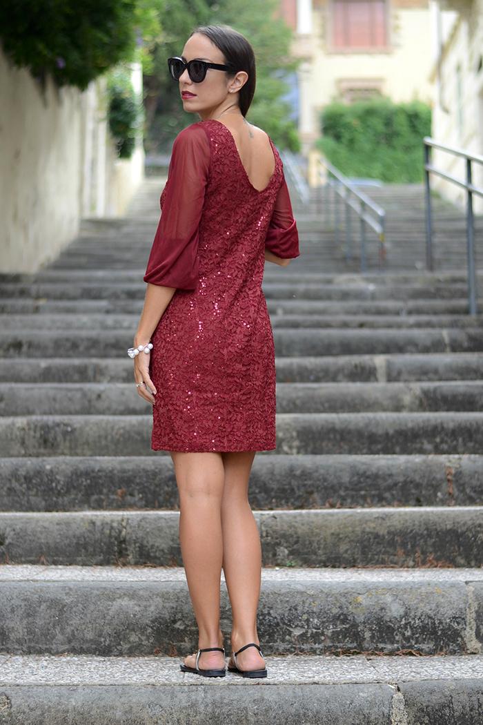 abito burgundy scollo schiena