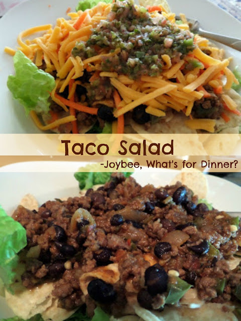 Taco Salad:  spicy ground beef atop a bed of lettuce and tortilla chips.  My favorite meal.