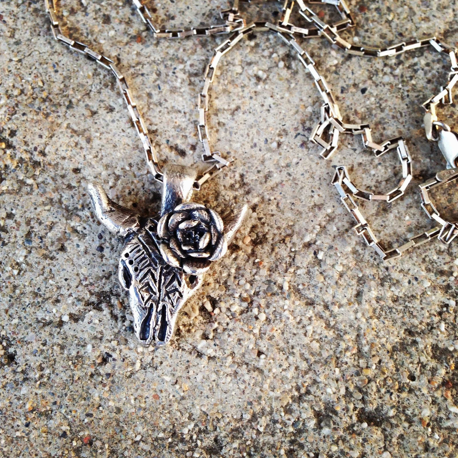 cow's skull with rose pendant (Georgia O'Keeffe inspired) | living with ThreeMoonBabies