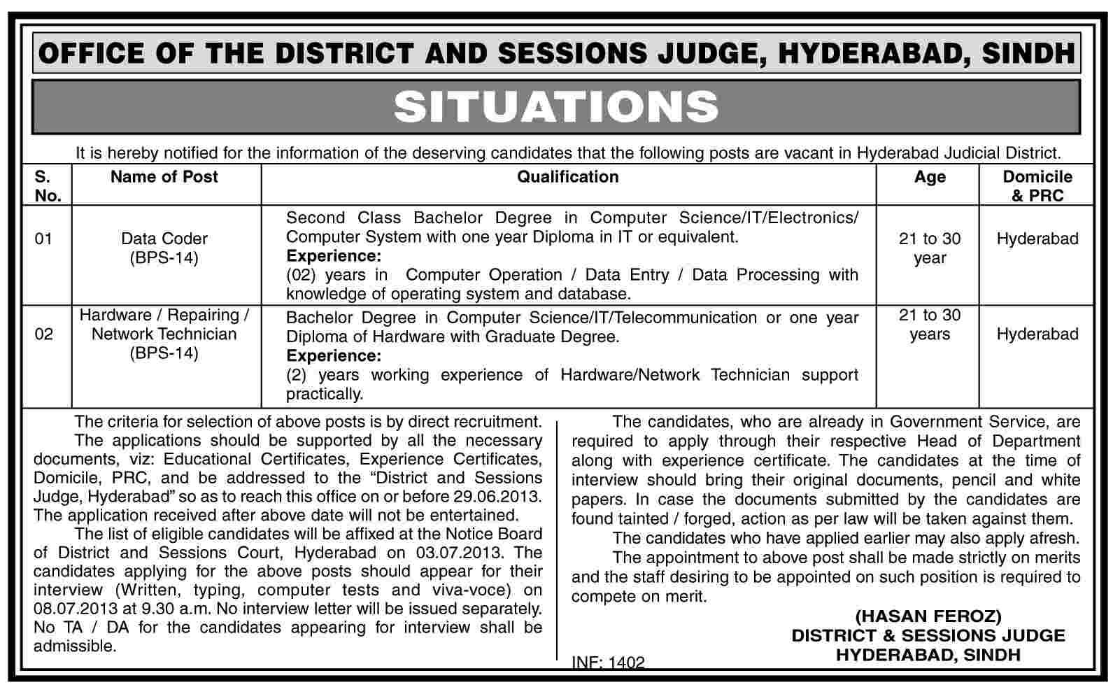 govt jobs in pakistan network technician job district session court hyd job data code