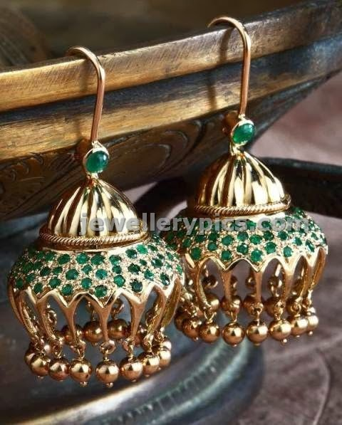 emerald green stone jumkis by gehna