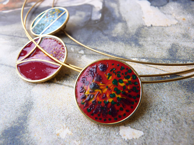 NECKLACE jewelry enamel pendant handmade unique - red explosion by  Ana Pina