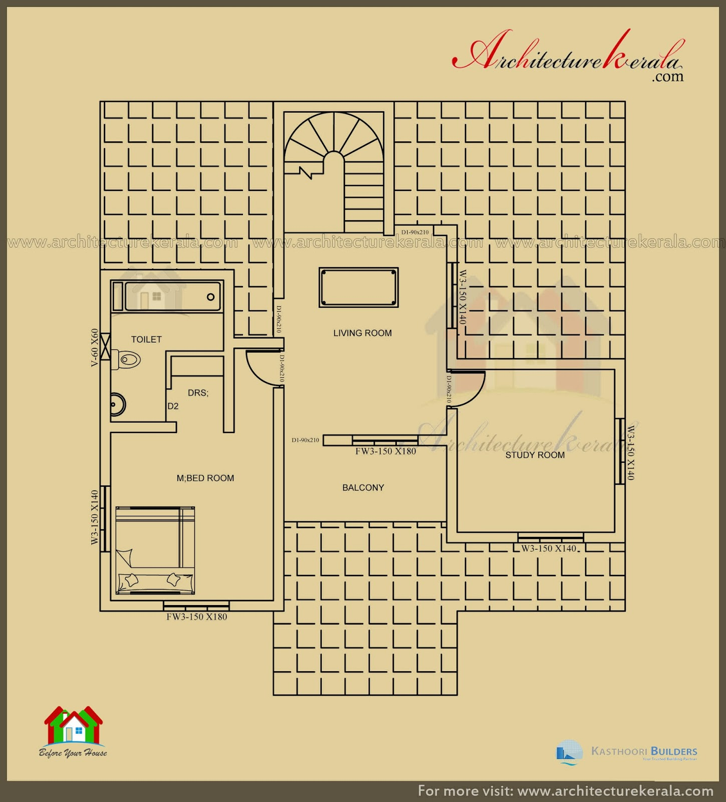 2500 sq ft 3 bedroom house plan with pooja room for How big is 2500 square feet