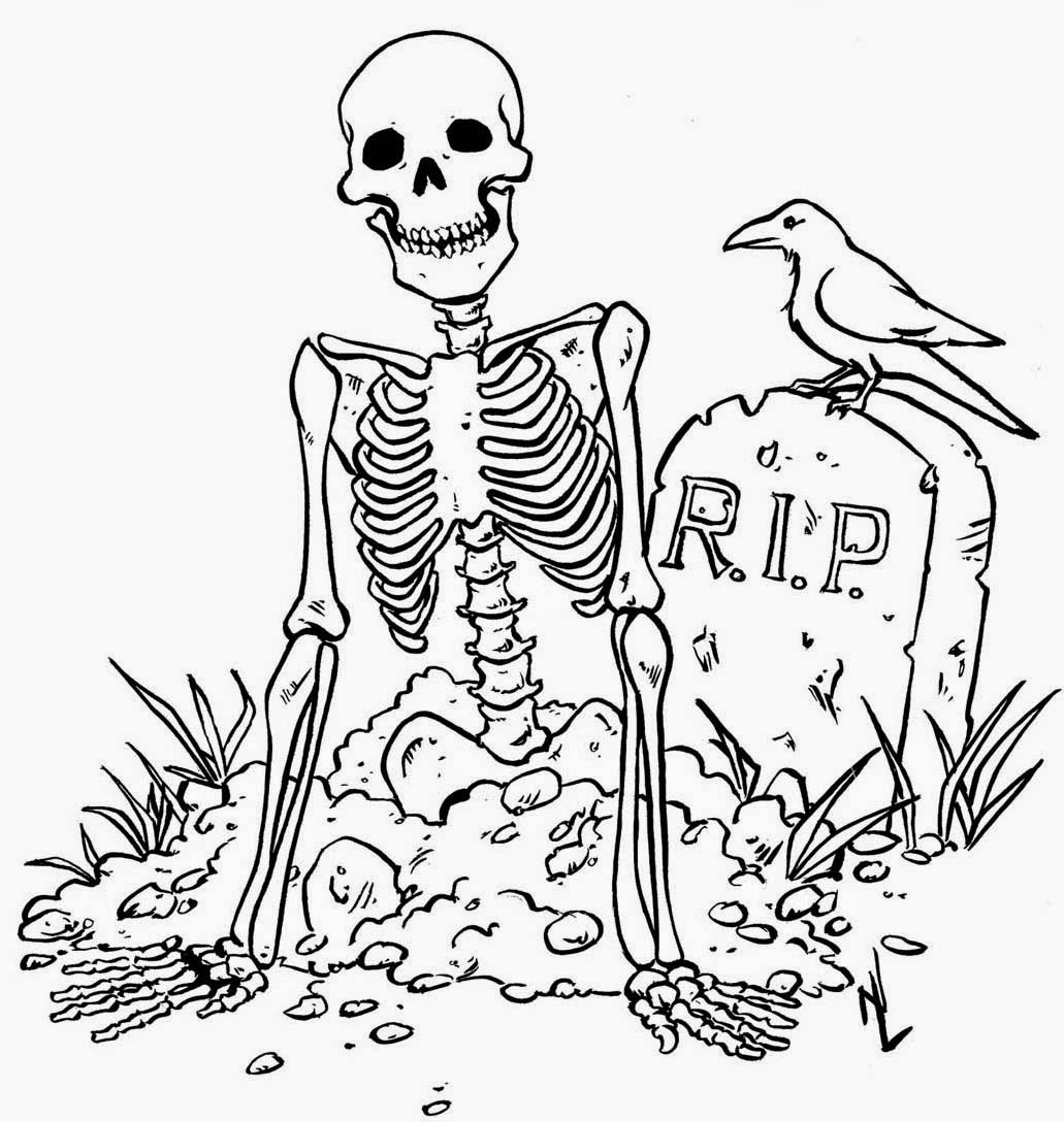 Skeleton halloween coloring pages for Free halloween coloring page