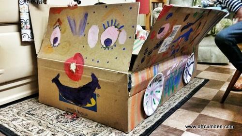 cardboard box car