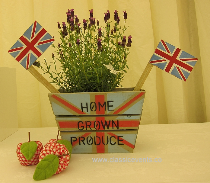 Pots of Kentish Lavender dress a wedding marquee for an English country