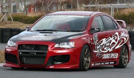 modified mitsubishi evo x with custom body kit alloy rims and fabulous color