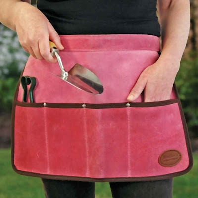 suede tool roll apron, pink, for the garden