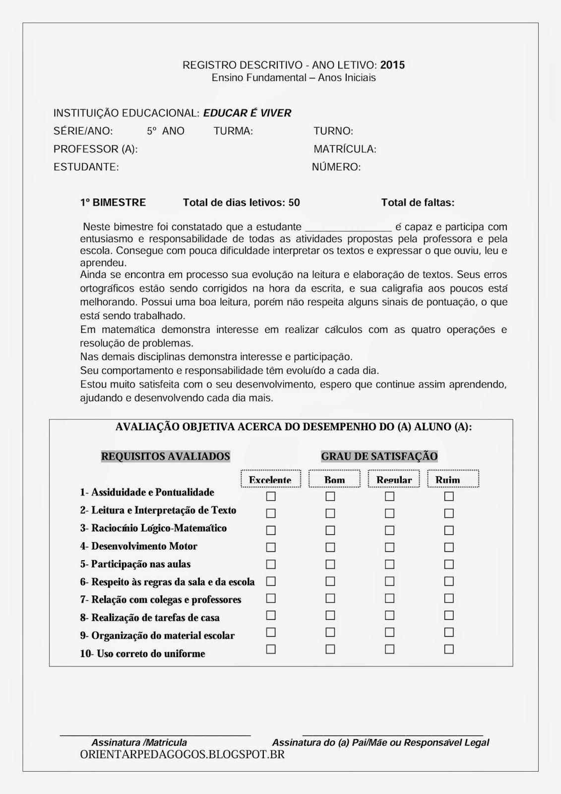 Populares CAR É VIVER: Relatório Descritivo 5º ano/ 4ª sérieEDU UM95