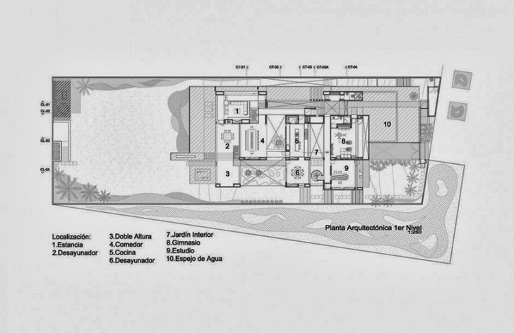 First floor plan of Casa del Agua by Almazán Arquitectos Asociados