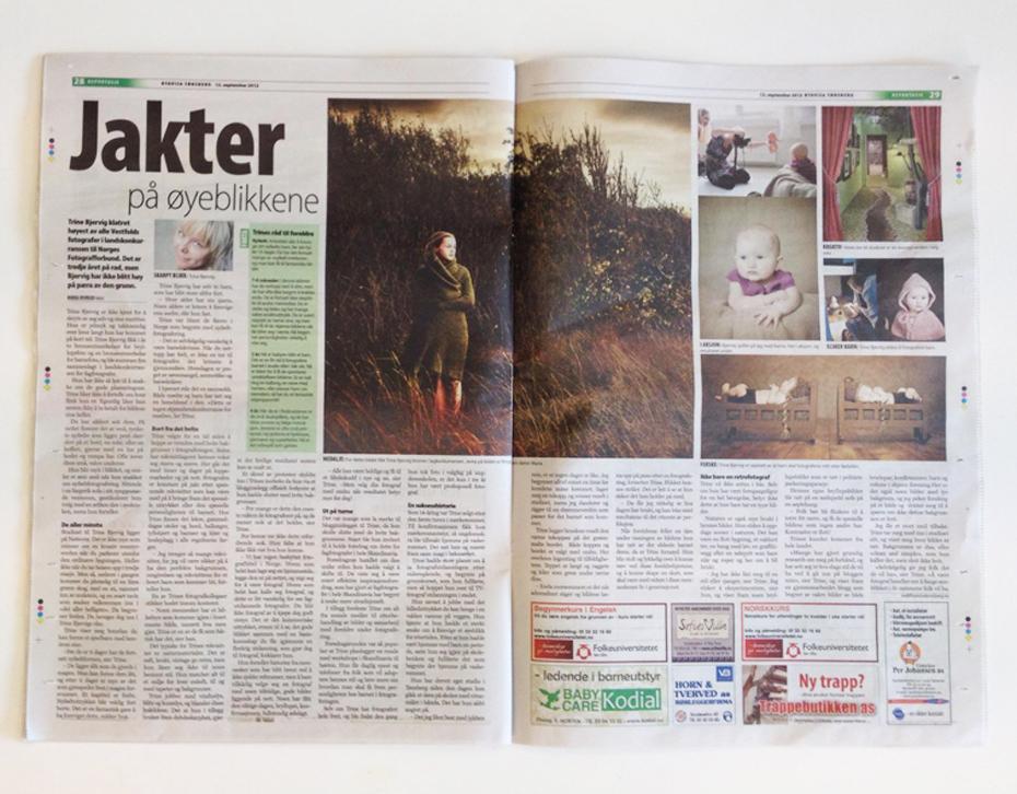 Presseomtale i byavisen om fotograf Trine Bjervig fra Tønsberg