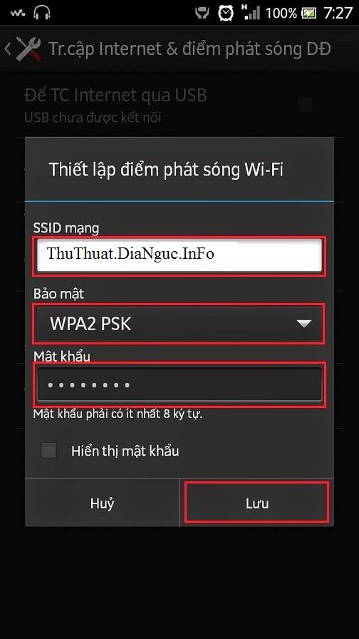 Cách phát wifi bằng điện thoại 3G Android cho laptop hoặc điện thoại khác