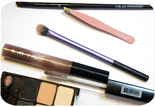 A picture of Eyebrow routine using MUA Makeup Academy Eyebrow Brush E7