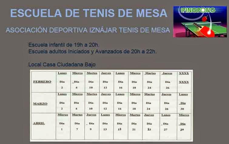 Escuela de Tenis De Mesa