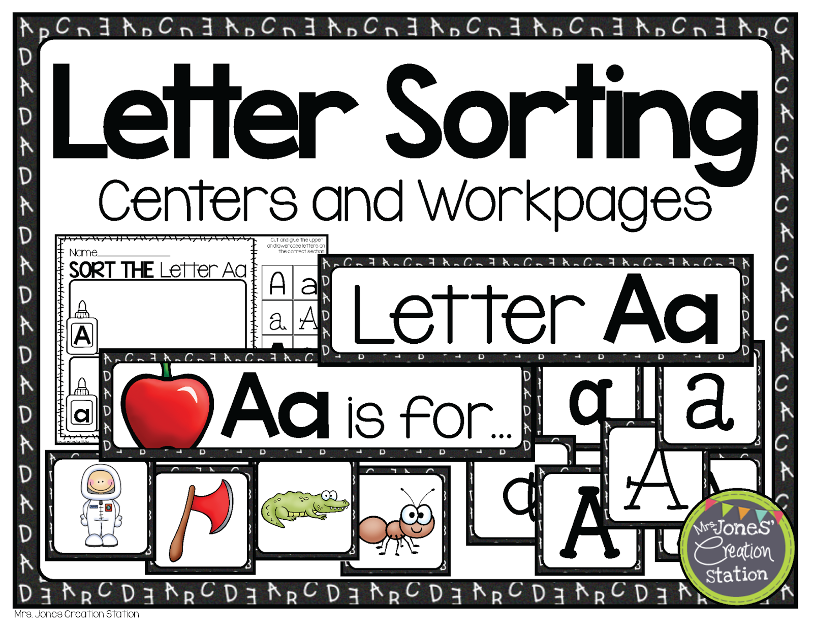 http://www.teacherspayteachers.com/Product/Alphabet-Letter-Sorting-Centers-and-Workpages-1210581