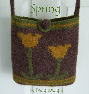 Knit and felt bag pattern download with yellow flowers. A BaggieAggie design.