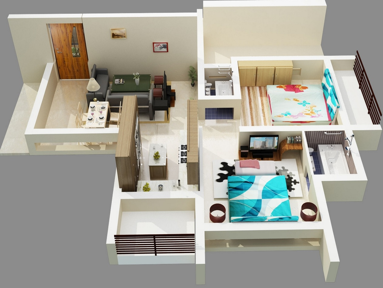 50 3d floor plans lay out designs for 2 bedroom house or apartment - Room house design ...