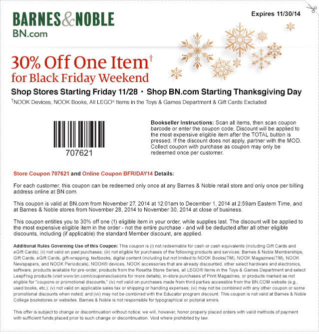Barnes and noble online coupon 20 off
