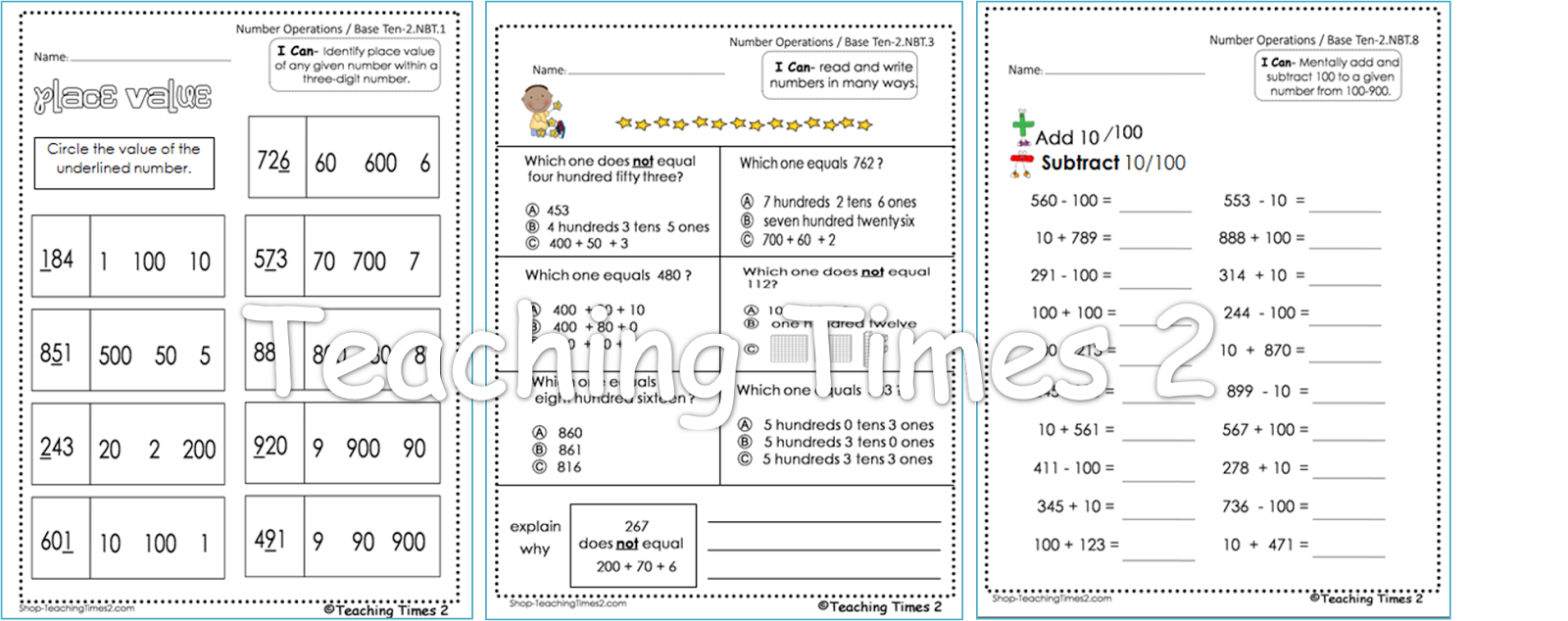 subtraction worksheets no regrouping