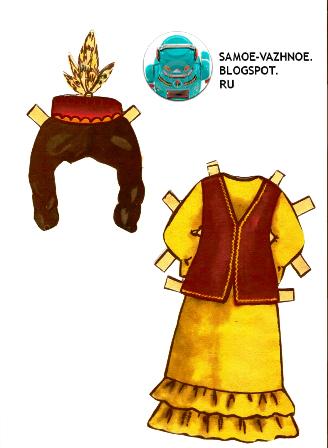 Бумажная кукла национальный костюм с ленточками СССР