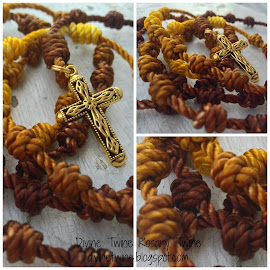 Brown & Gold Batik Twine Rosary