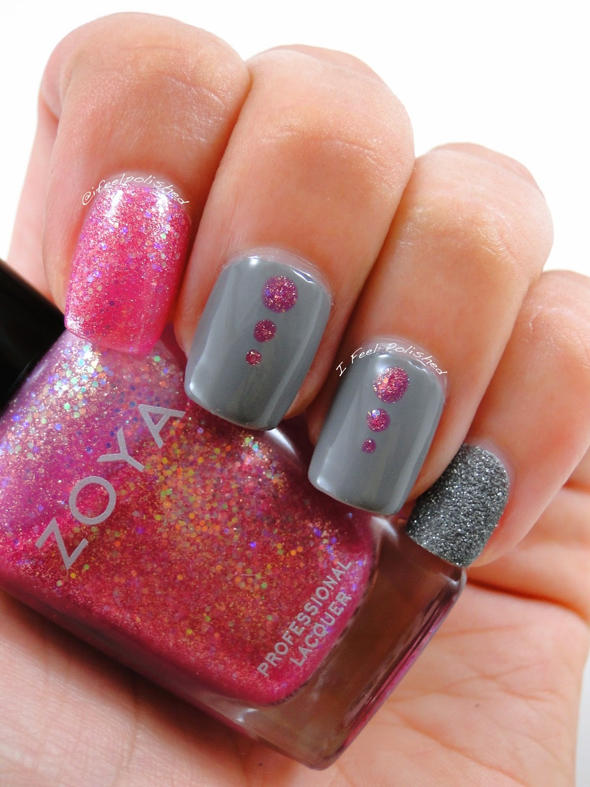 Grey and Pink Nail Art