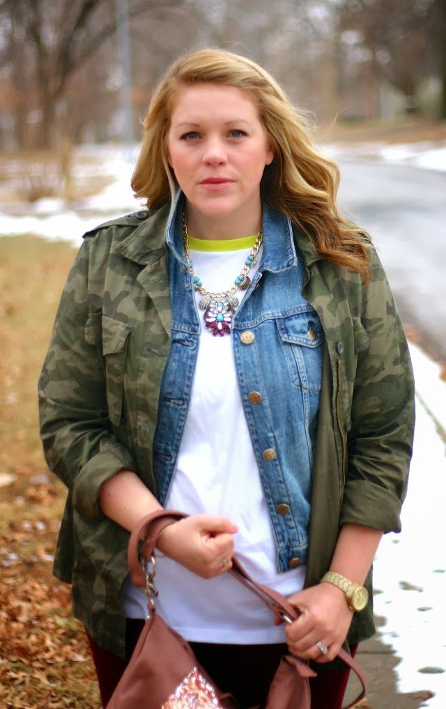 camo jacket over denim vest outfit for winter layering
