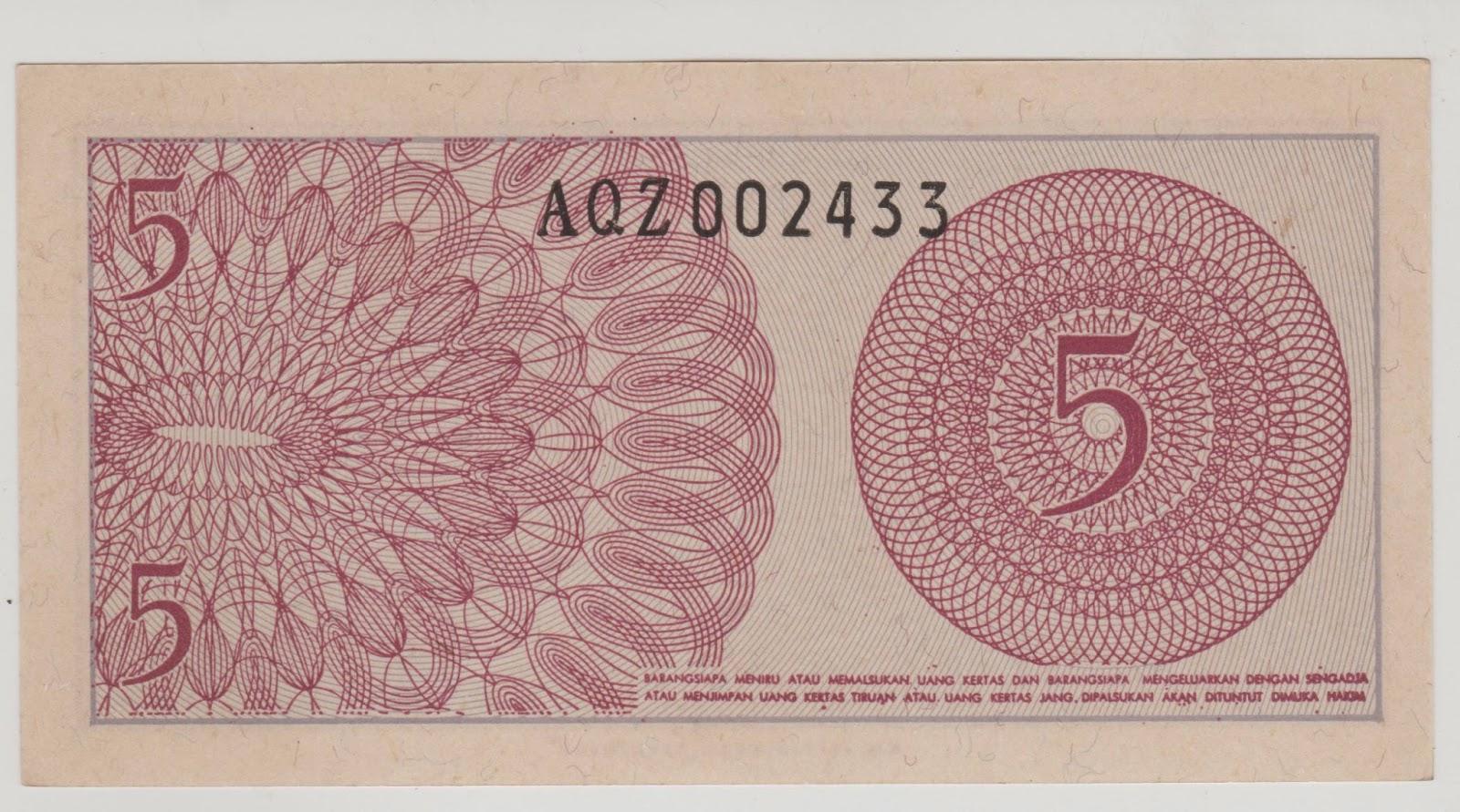 uang kuno Seri Sukarelawan tahun 1968 pecahan 5 sen