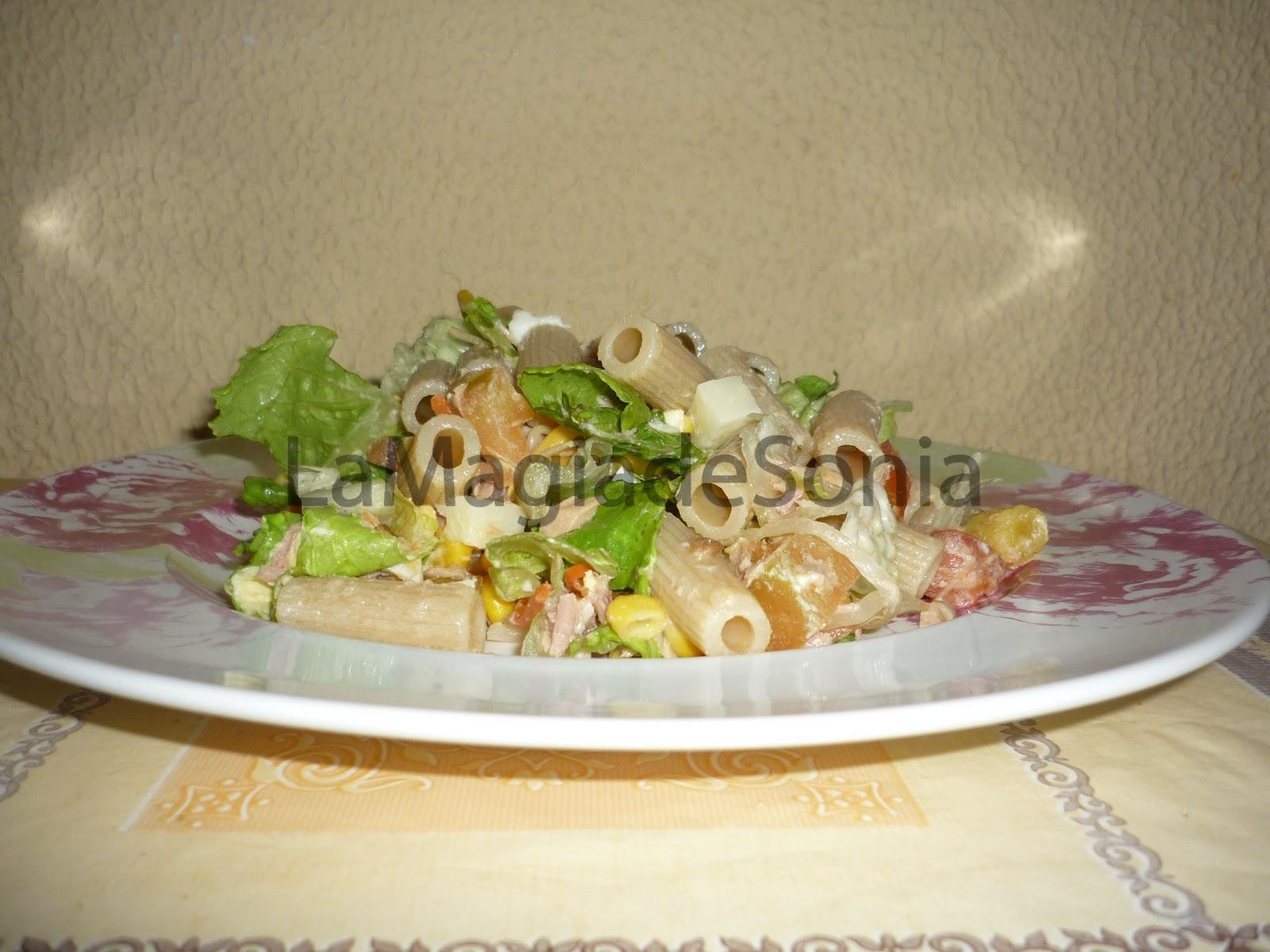 La magia de sonia ensalada de pasta integral rica en fibra for Ensalada de pasta integral