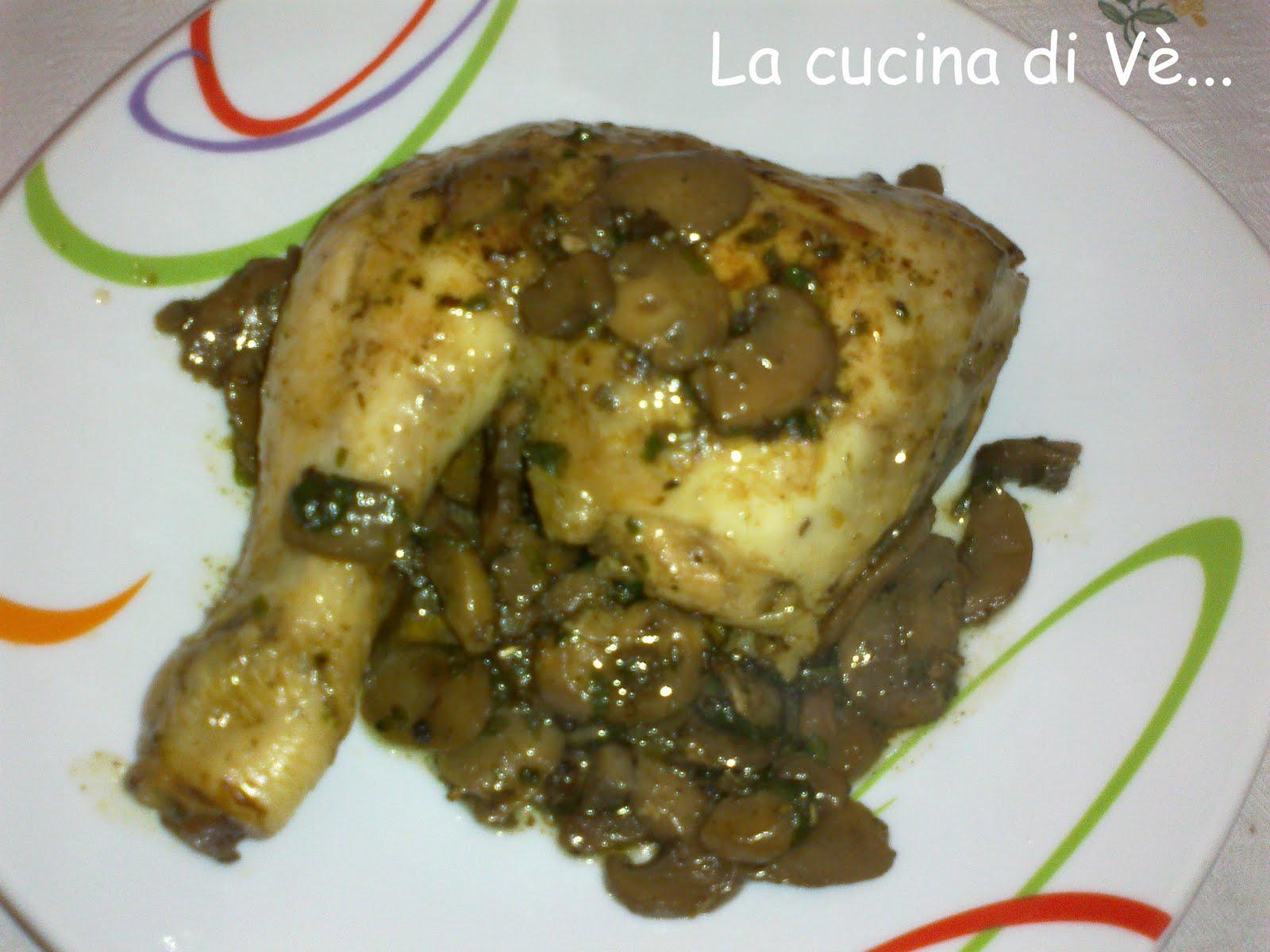 cosce di pollo con funghi champignon