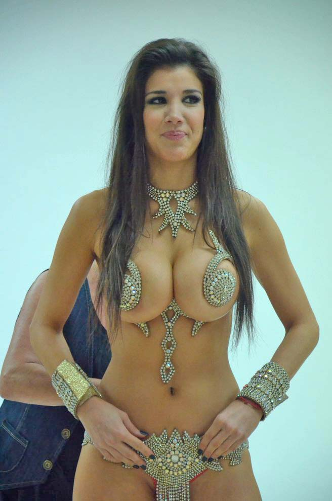 andrea rinc n showing off her tasty body almost nude party slut