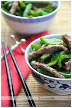 Ternera con pimientos verdes. Cocina China
