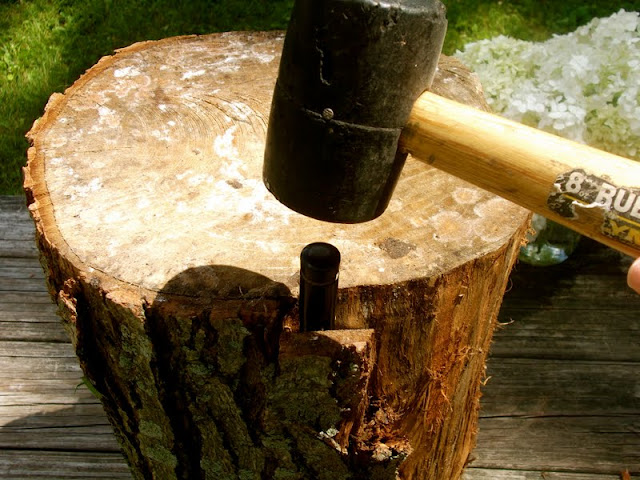 a daily something diy tree stump table. Black Bedroom Furniture Sets. Home Design Ideas