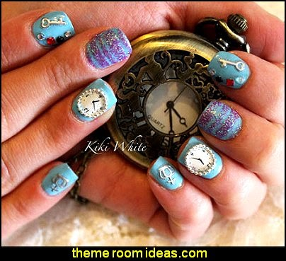 Clock Design Nail Art Transfering Water Decal - themed nail designs