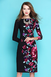 New 2017 Three Quarter Sleeve Side Red Floral Black OL Dress