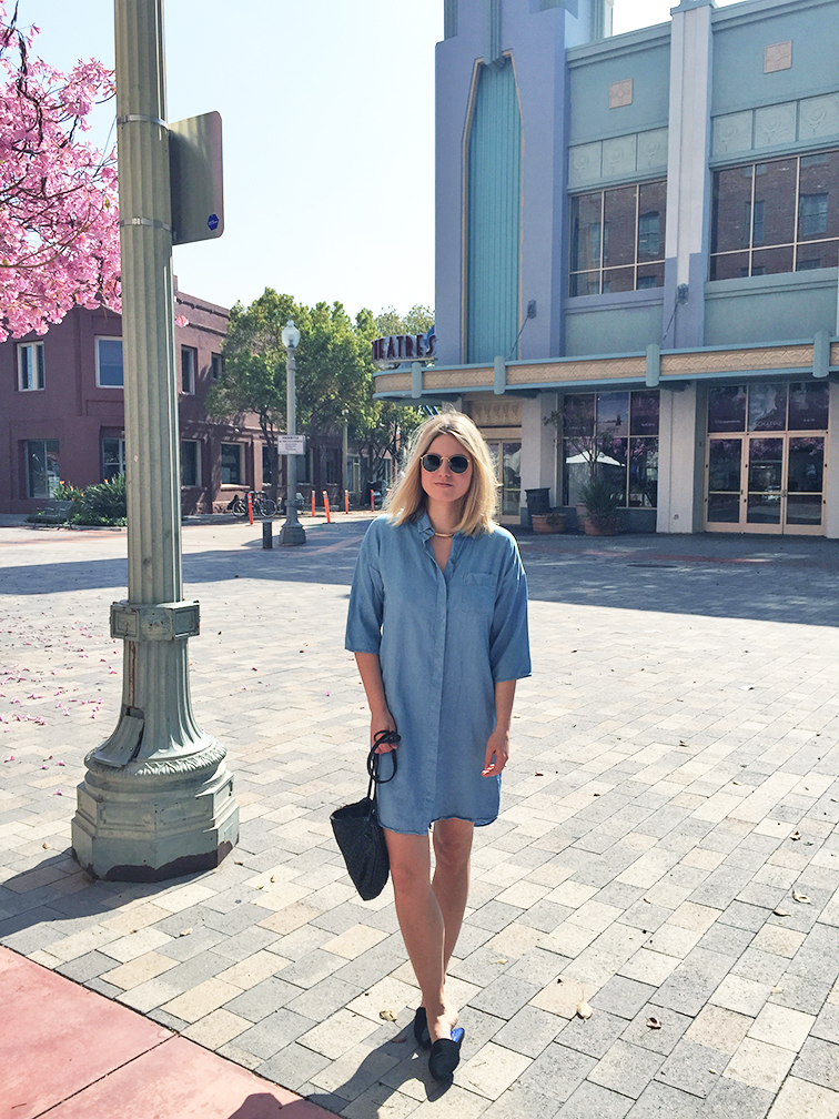 Cherry blossom trees, Los Angeles, California, COS chambray shirtdress, Jeffrey Campbell x Free People pointed toe mules, Bottega Veneta cross body intrecciato, Ray-Ban Lennon round sunglasses