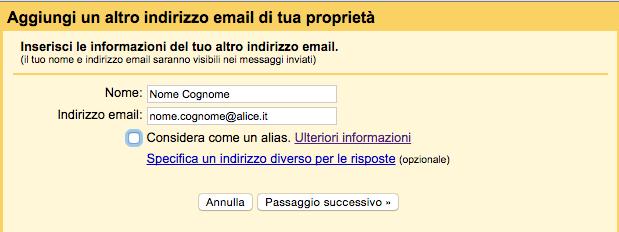 aggiungere un indirizzo mail di proprietà