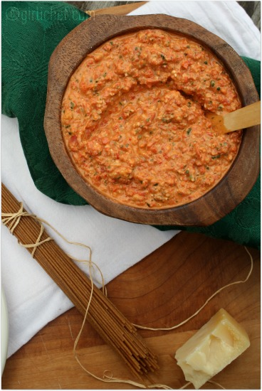 Roasted Red Pepper and Walnut Pesto - All Roads Lead to the Kitchen