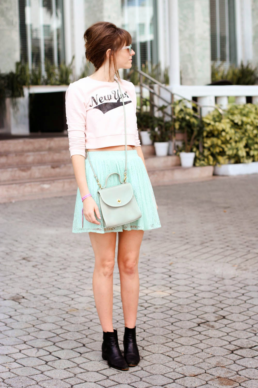 steffy kuncman, forever 21 new york shirt, mint green