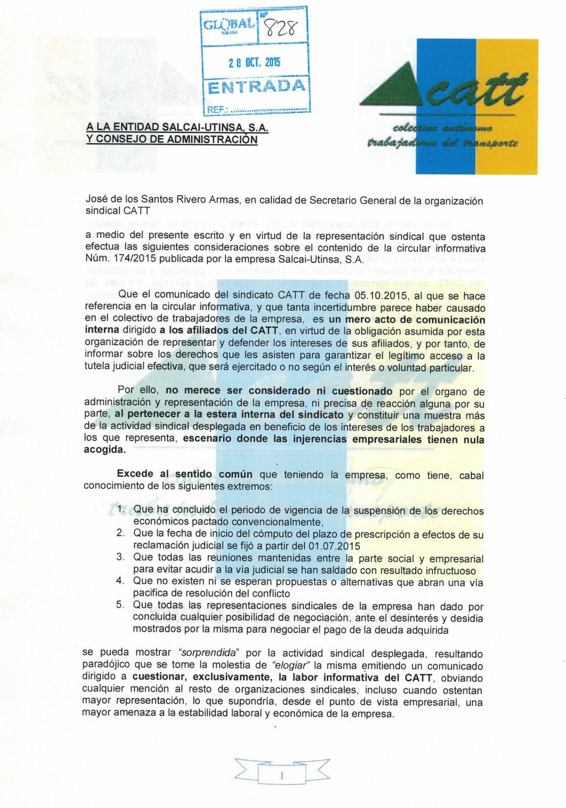 RESPUESTA DEL CATT AL CONSEJO DE ADMINISTRACIÓN DE SALCAI-UTINSA S.A.