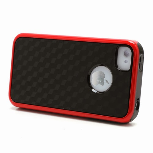 Cool 3D Cube Texture TPU Case for iPhone 4 4S - Red