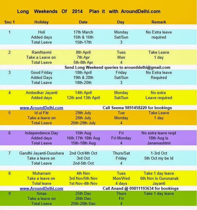 long weekend holiday planner 2014