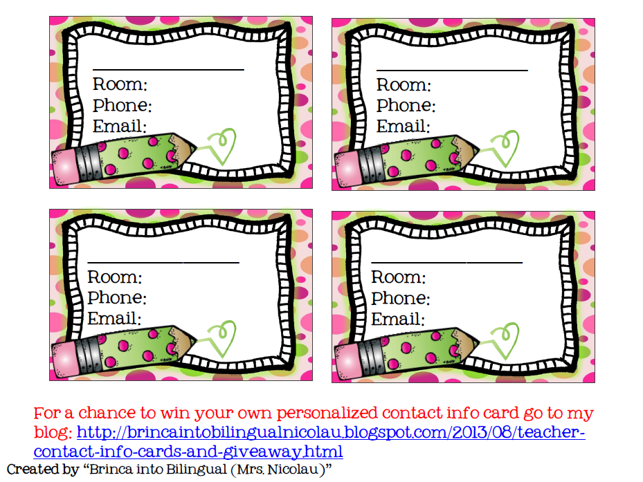 http://www.teacherspayteachers.com/Product/FREE-Teacher-Contact-Info-Card-EDITABLE-English-and-Spanish-810587