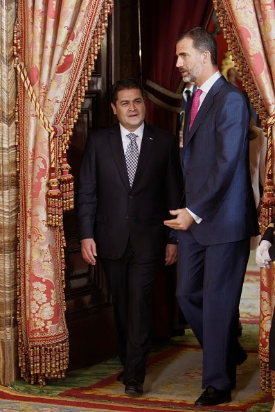 King Felipe VI of Spain (R) receive President of Honduras Juan Orlando Hernandez Alvarado (L) at the Royal Palace on 01.10.2014 in Madrid, Spain.