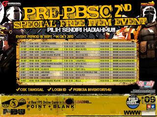 Jadwal dan daftar item gratis pb September sampai Oktober 20121024