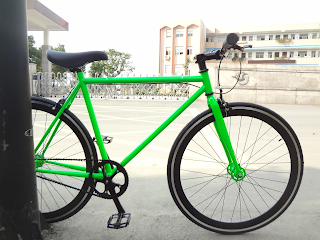 Green fixie by Baseline Bicycles