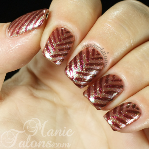 Braided Lines Nail Art with Madam Glam Glittery Bronze and Golden Red