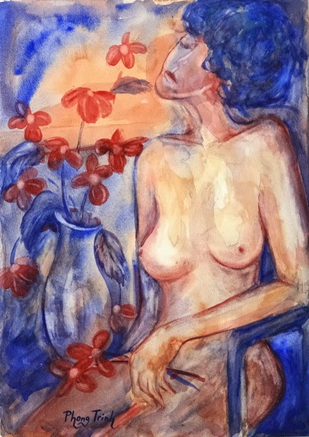 Beautiful Watercolor Painting Figure, Female Nude  with Flowers