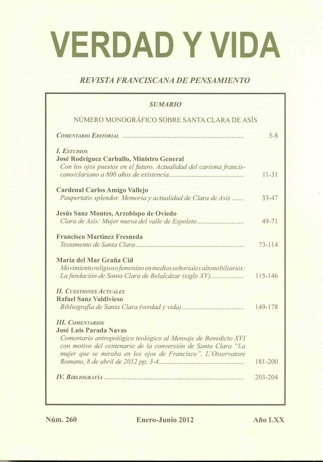 Artículo en la revista VERDAD Y VIDA del pensamiento franciscano.