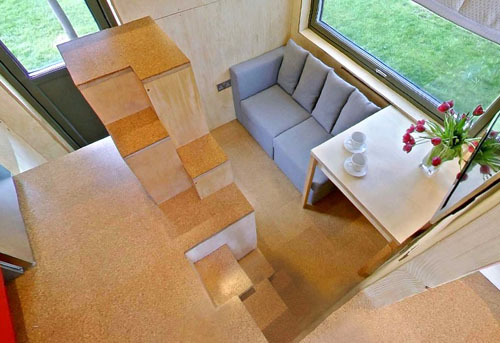 The Cool Cube House, England, stair and seating